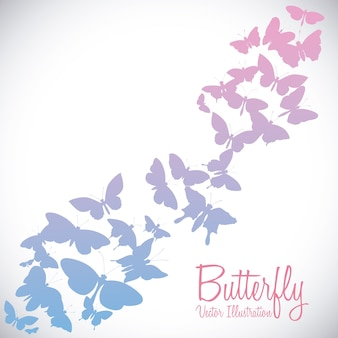 Disegno della farfalla sopra l'illustrazione bianca di vettore del fondo