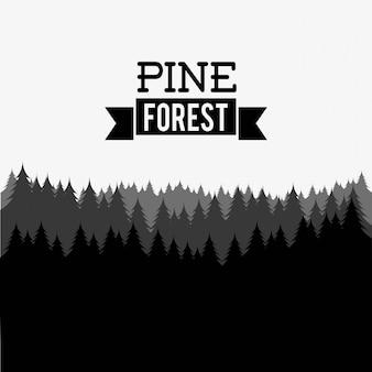 Disegno della foresta sopra illustrazione vettoriale sfondo bianco