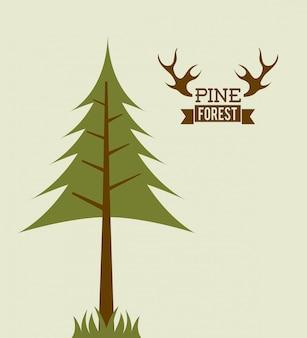 Disegno della foresta sopra illustrazione vettoriale sfondo grigio