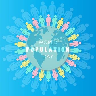 Disegno della giornata mondiale della popolazione con il globo