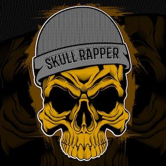 Disegno della maglietta del cranio del rapper