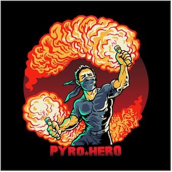Disegno della maglietta pyro hero