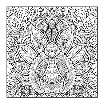Disegno della mandala del pavone per libro da colorare