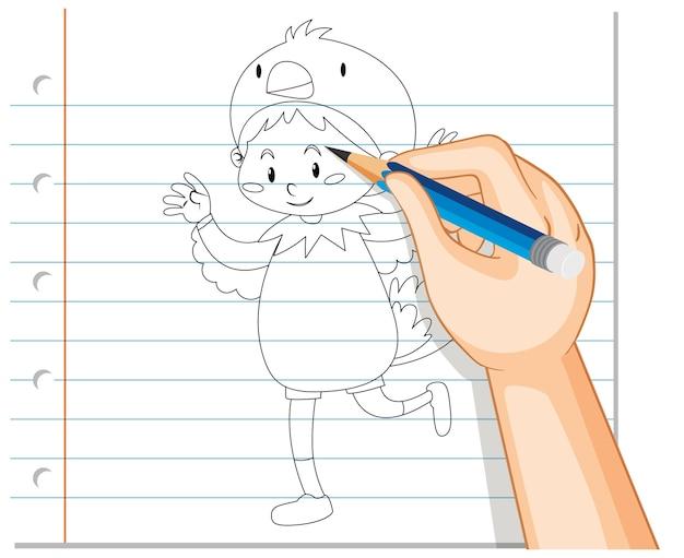 Disegno della mano del bambino nel contorno del costume di pollo