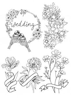 Disegno della mano del fiore della carta di nozze in bianco e nero