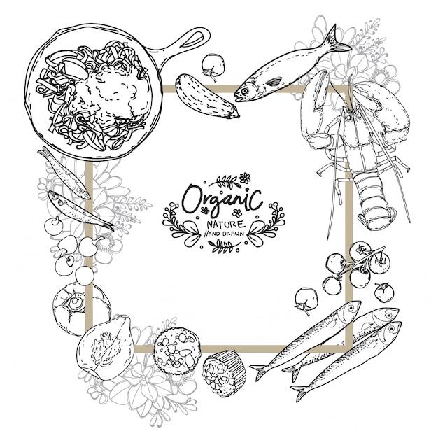 Disegno della mano del modello del menu del ristorante dei frutti di mare