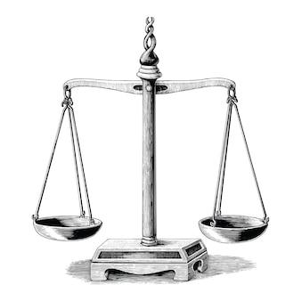 Disegno della mano dell'equilibrio dell'annata isolato su priorità bassa bianca