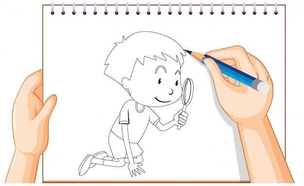 Disegno della mano dello sguardo del ragazzo attraverso il profilo della lente d'ingrandimento