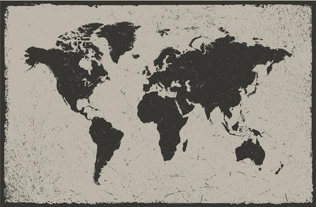 Disegno della mappa del mondo dell'annata
