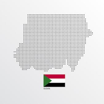 Disegno della mappa del sudan con bandiera e luce sfondo vettoriale