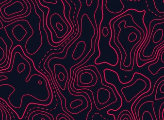 Disegno della mappa topografica in colore rosso