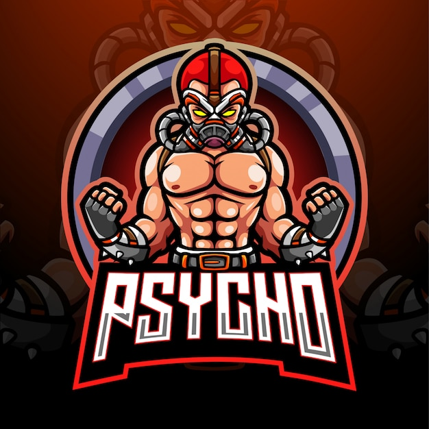 Disegno della mascotte del logo di psycho esport