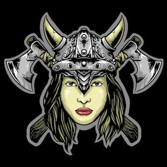 Disegno della mascotte di donna viking logo