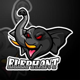 Disegno della mascotte logo elefante esport