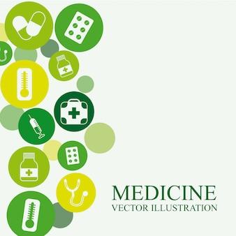 Disegno della medicina sopra illustrazione vettoriale sfondo bianco