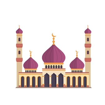 Disegno della moschea su priorità bassa bianca