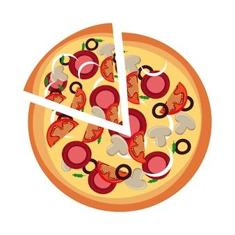 Disegno della pizza sopra l'illustrazione bianca di vettore del fondo