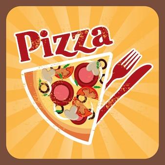 Disegno della pizza sopra l'illustrazione crema di vettore del fondo