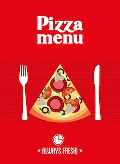Disegno della pizza sopra l'illustrazione rossa di vettore del fondo