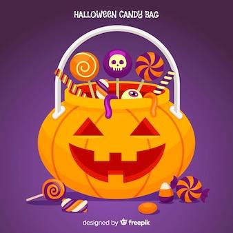 Disegno della priorità bassa del sacchetto della caramella di halloween