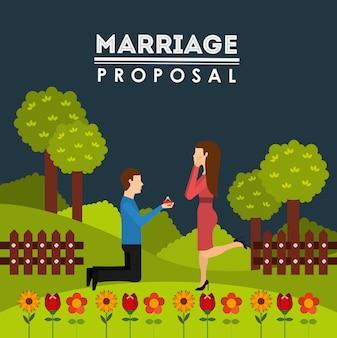 Disegno della proposta di matrimonio