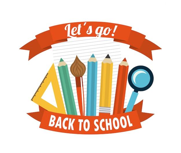 Disegno della scuola sopra illustrazione vettoriale sfondo bianco