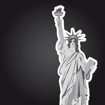 Disegno della statua della libertà su sfondo nero