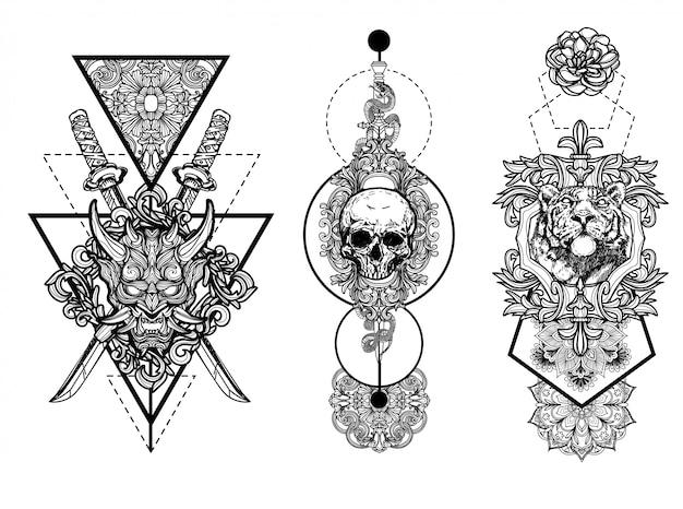 Disegno di arte del tatuaggio e schizzo in bianco e nero isolati