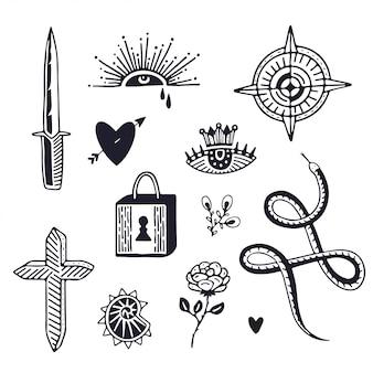 Disegno di arte del tatuaggio. tatuaggio minimalista
