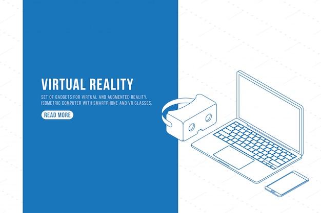 Disegno di assieme. set di gadget per realtà virtuale e aumentata. computer isometrico con smartphone e occhiali vr.