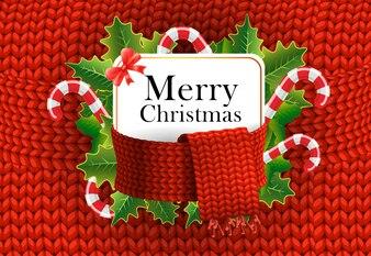 Disegno di auguri di buon Natale. Bastoncini di zucchero