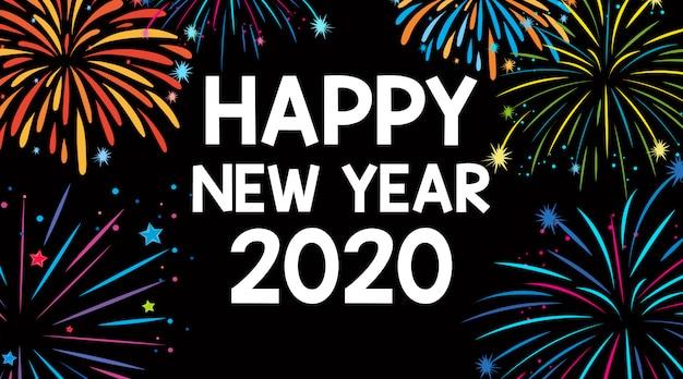 Disegno di auguri di felice anno nuovo con fuochi d'artificio