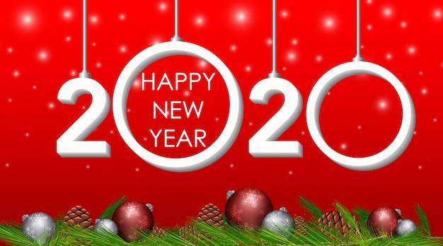 Disegno di auguri di felice anno nuovo per il 2020