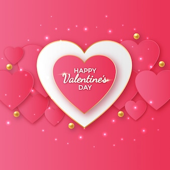 Disegno di auguri di san valentino con forme di cuore