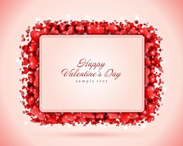 Disegno di auguri felice giorno di san valentino e cuore rosso con design di desiderio