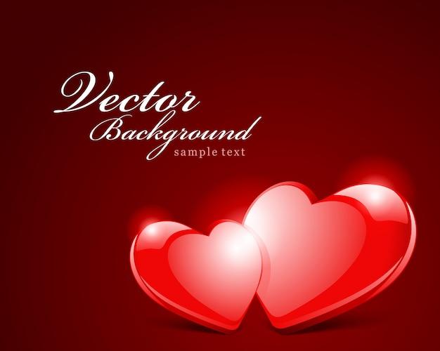 Disegno di auguri felice giorno di san valentino e desiderio tipografico vintage di due cuori rossi