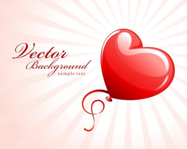 Disegno di auguri felice giorno di san valentino e palloncino cuore rosso con posto per la progettazione del desiderio