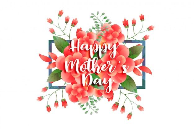 Disegno di auguri floreali di festa della mamma felice