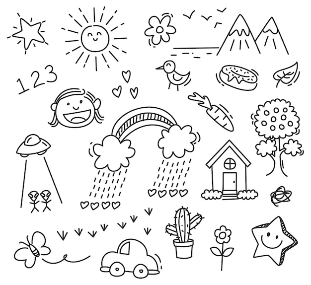 Disegno di bambini su sfondo bianco