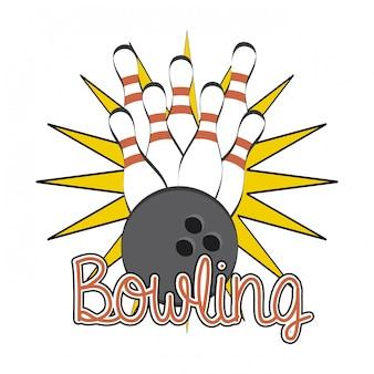 Disegno di bowling sopra illustrazione vettoriale sfondo bianco