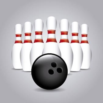 Disegno di bowling sopra illustrazione vettoriale sfondo grigio