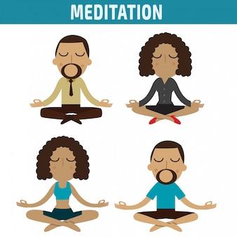 Disegno di carattere americano africano di meditazione
