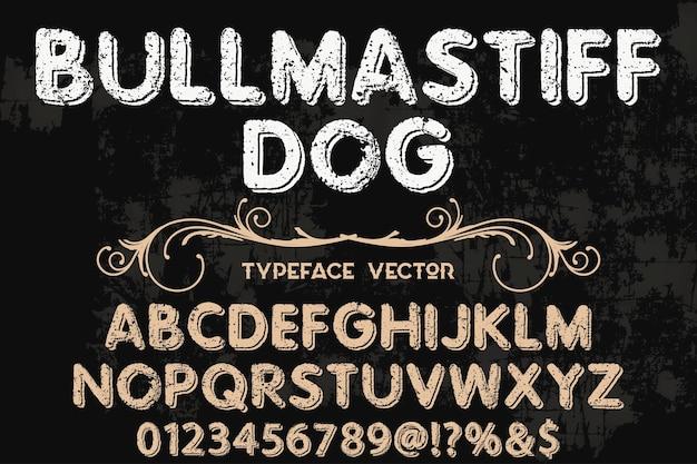 Disegno di carattere di iscrizione cane bullmastife