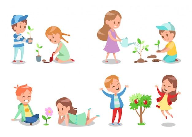 Disegno di carattere per bambini in giardino 2
