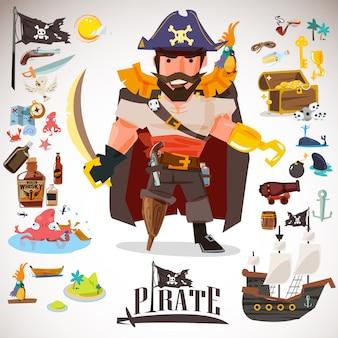 Disegno di carattere pirata con elemento di icone.