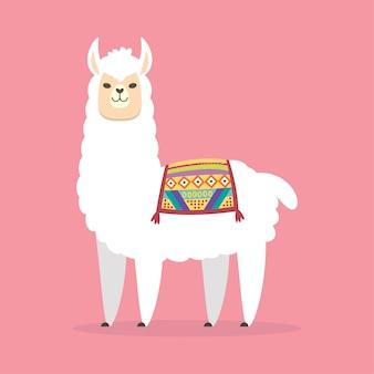 Disegno di carattere simpatico cartone animato llama