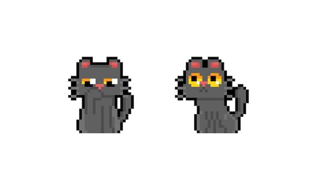 Disegno di carattere sveglio del gatto grigio del fumetto di arte del pixel.