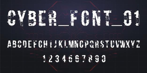 Disegno di carattere vettoriale futuristica. lettere e numeri per web e app. alfabeto tipo di carattere techno. simboli di stile hi-tech digitale.