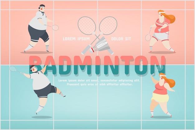 Disegno di caratteri sportivi badminton