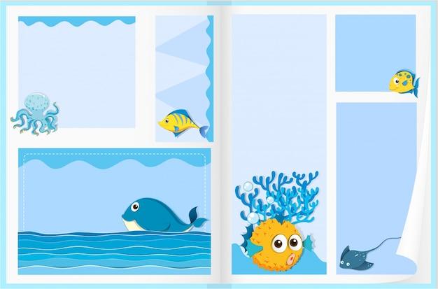 Disegno di carta con gli animali del mare